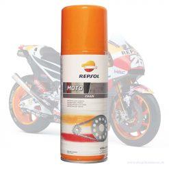 Bảo dưỡng xích Repsol giúp bôi trơn chống kêu ồn, chống mài mòn, chống thấm nước kéo dài tuổi thọ cho sên. Bôi trơn rất tốt cho xe chạy đường trường.