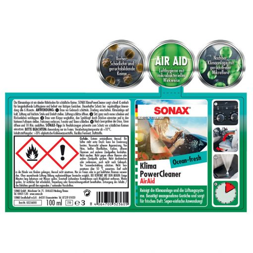 Khu mui dieu hoa o to Sonax Car AC Cleaner Ocean-Fresh 100ml