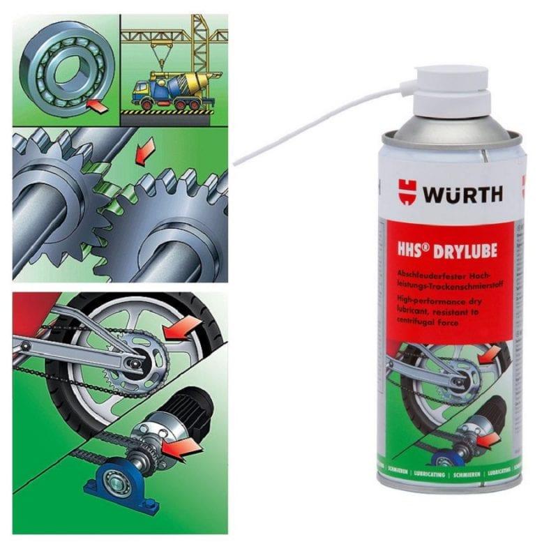 Mỡ bò bôi trơn khô Wurth HHS Drylube Adhesive lubricant 400ml
