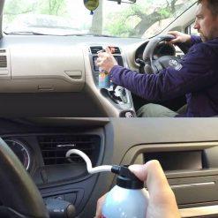 VỆ SINH ĐIỀU HÒA Ô TÔ ABRO AIR CLEAN 225G Tác dụng trực tiếp trên giàn lạnh của xe, thấm sâu qua các lớp bẩn lâu ngày, làm sạch và diệt vi trùng, nấm mốc và diệt tận gốc phát sinh vi khuẩn gây hại. Dung dịch đặc biệt để làm sạch và diệt khuẩn hệ thống điều hòa không khí của xe. Vệ sinh điều hòa ô tô Abro mang lại không khí sạch và đảm bảo sức khỏe cho người ngồi trong xe. Tăng hiệu quả làm lạnh của hệ thống điều hòa xe. Hiệu quả làm sạch nhanh & Tự phân hủy sinh học. Làm trung hòa và loại bỏ mùi nấm mốc khó chịu. Có thể áp dụng cho điều hòa trong gia đình. Xuất xứ Mỹ (Made In USA) Trọng lượng 255g (*) Cách Sử Dụng: - Tắt thiết bị điều hòa không khí và thông gió - Lắc đều chai trước khi sử dụng - Đưa vòi phun vào sâu trong dàn lạnh điều hòa - Sau đó xịt dung dịch khoảng 10 giây - Đợi khoảng 10 phút đến khi bọt chảy hết ra khỏi hệ thống thoát của dàn lạnh - Lặp lại quy trình nếu nước thoát ra bên ngoài có màu đen. - Sau đó bật máy lạnh và cho máy lạnh hoạt động ở chế độ quạt trong vài phút.
