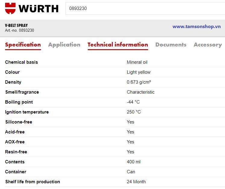 Chi tiết kỹ thuật chai xịt bảo dưỡng dây curoa Wurth V-Belt Spray 0893230 400ml