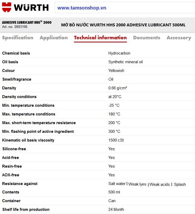 Đặc điểm kỹ thuật chai mỡ bò nước dạng xịt Wurth HHS 2000 Adhesive lubricant 500ml
