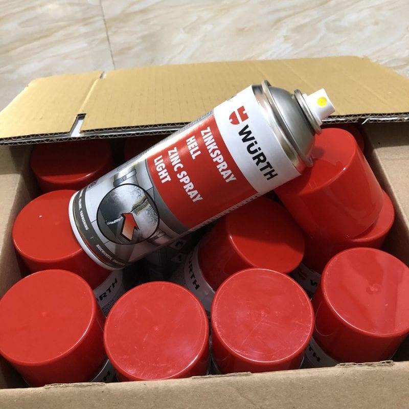 Chai xịt sơn chịu nhiệt Wurth Zinc spray 400ml