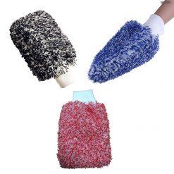 Găng tay rửa xe ô tô sợi nhung san hô (xanh, đỏ, đen)