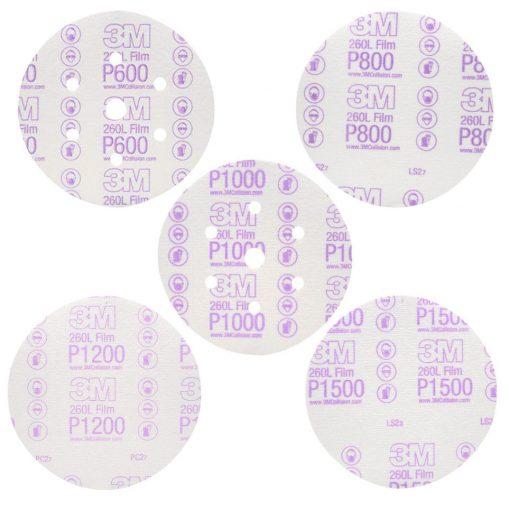 Giấy nhám 3M P600 P800 P1000 P1200 P1500 260L nhám đĩa hạt nhôm oxit trên nền film và lớp keo chịu nhiệt cho độ cắt nhanh. Dùng để mài sửa lỗi bụi sơn, xử lý vết xước, chuẩn bị bề mặt sơn, đánh bóng.
