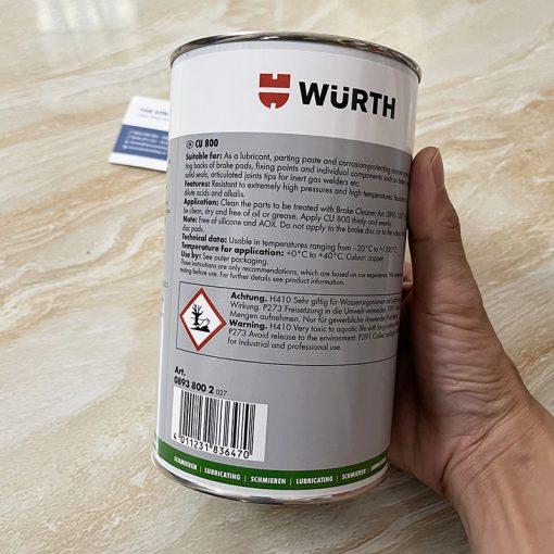 Mỡ bò đồng chịu nhiệt độ cao Wurth Copper Paste CU 800 1kg