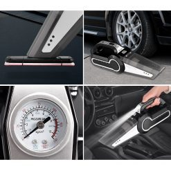 Máy hút bụi xe ô tô đa năng 4 trong 1 bao gồm hút bụi, bơm lốp, đo áp suất lốp, và đèn pin chiếu sáng.